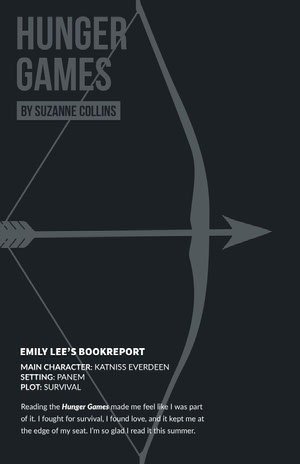 Dark Toned Hunger Games Bookreport Poster Book Cover