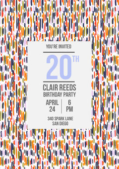 Grey and Striped Pattern Birthday Party Invitation Boys