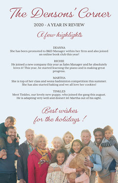 Classic Light Blue Family Picture Newsletter Poster Family