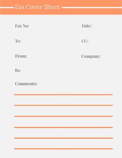 Orange Lined Fax Cover Sheet  Orange
