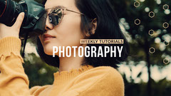 Photography Tutorial Youtube Channel Art Banner with Woman with Camera Tutorial