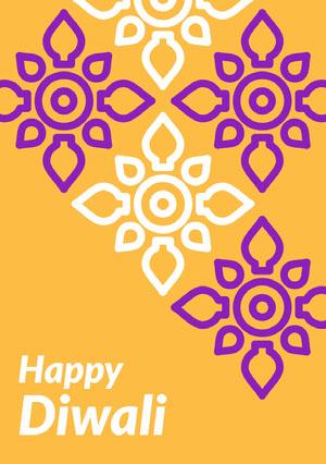 Yellow, Purple and White Happy Diwali Card  Diwali