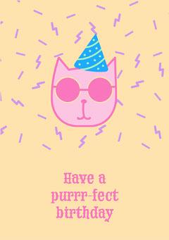 Yellow Cat Birthday Card  Cat