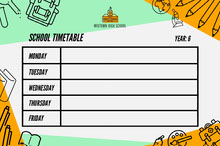 Green and Orange Illustrated School Timetable Class Schedule