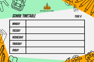 Green and Orange Illustrated School Timetable Crea il tuo calendario
