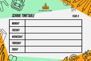 Green and Orange Illustrated School Timetable Logotipo de horário