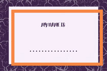 Purple and Orange Halloween Party Name Tag Scary