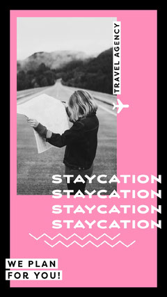 Black and Pink Staycation Plan Instagram Story Travel Agency