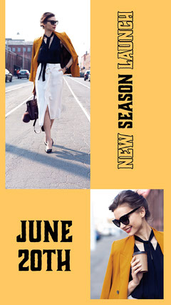 Yellow New Collection Launch Fashion Store Instagram Story with Fashion Model Launch