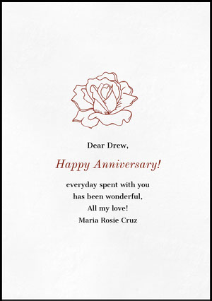 Floral Happy Marriage Anniversary Card with Rose Carte d'anniversaire de mariage