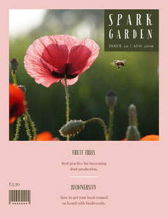 Pink and Green Spark Garden Magazine Cover Student Council Poster