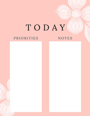 Pink and White Empty Daily Planner Card Agenda giornaliera