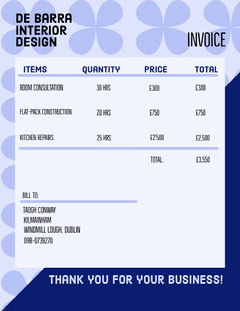 Blue Flower Pattern Interior Design Business Invoice Construction