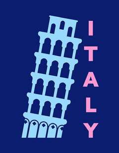 Blue & Pink Italy T-Shirt Design Italy