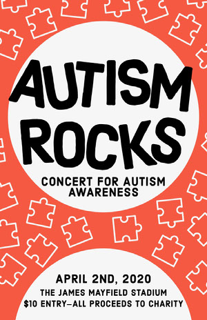 Red Puzzle Piece Autism Awareness Poster Concert Poster