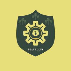 Yellow and Green Bear Claws Badge Animal