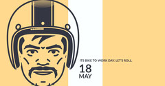 Yellow, White and Black Minimalistic Bike To Work Day Event Facebook Cover Bike