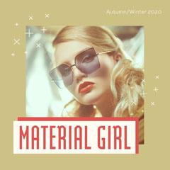 Beige/Brown & Red Stars Material Girl Model Instagram Square Stars