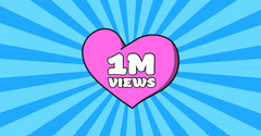 Blue and Pink 1 Million Views Facebook Thank You Poster