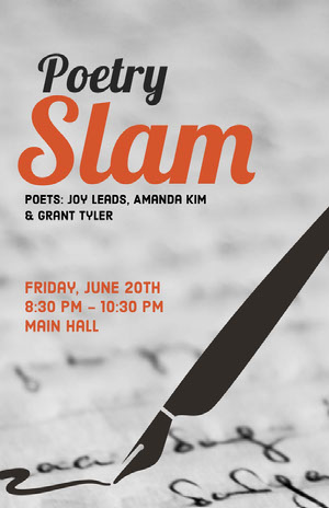Red and Black Slam Poetry Event Poster with Fountain Pen Poem/Poetry