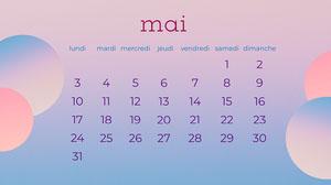 Purple Gradient Spheres May Calendar Widescreen Desktop  Calendrier mensuel