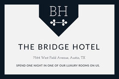 Black and White Free Night Hotel Coupon with Logo Hotels