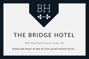 Black and White Free Night Hotel Coupon with Logo Bon