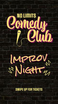 Yellow & Black Comedy Club Instagram Story  Comedy
