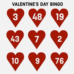 Red Heart Valentine's Day Bingo Card Valentine's Day