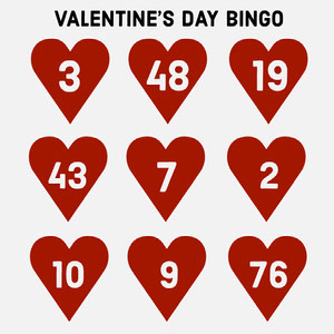 Red Heart Valentine's Day Bingo Card ビンゴカード