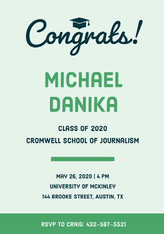 Green Graduation Announcement Card Graduation Congratulation