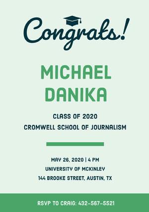 Green Graduation Announcement Card Graduation Announcement