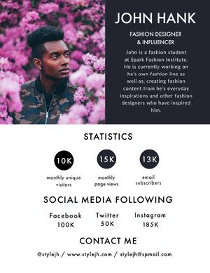 Pink and Gray Fashion Designer and Influencer Media Kit with Man among Flowers Kit per i media