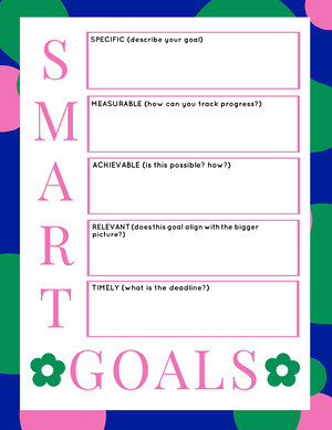 Pink and Blue SMART Goals Worksheet Fiche d'exercices