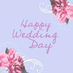 Purple & Pink Flower  Swirl Wedding Day Virtual Card Instagram Square Weddings
