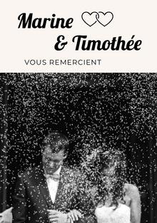 black and white photograph wedding thank you cards  Carte de remerciement de mariage