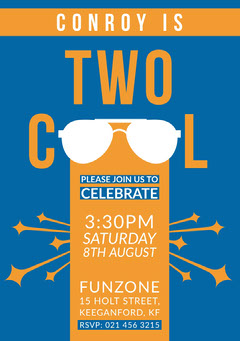 Blue and Orange Cool Boys Birthday Party Invitation Card Boys