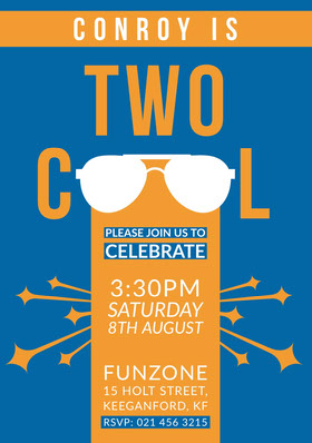 Blue and Orange Cool Boys Birthday Party Invitation Card Birthday Invitation (Boy)