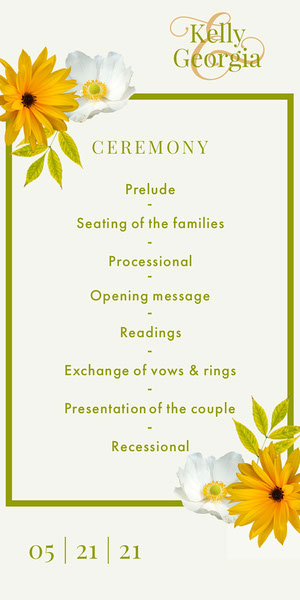 Green and Yellow Flower Lgbt Wedding Program  Programação de casamento