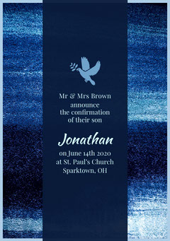 Blue and White Confirmation Announcement Religion