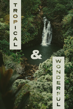Tropical Waterfall Instagram Portrait Graphic with Jungle Travel Agency