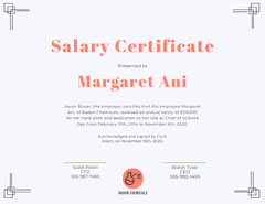 Red Salary Certificate with Frame Frame