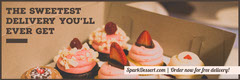 Dessert Delivery Service Horizontal Ad Banner Cupcake