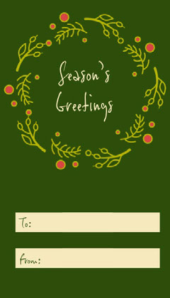 Green Wreath Season's Greetings Gift Tag Hannukkah