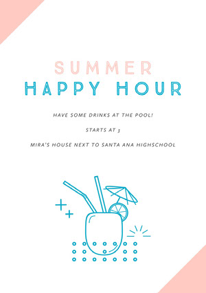 SUMMER HAPPY HOUR Invitación de fiesta