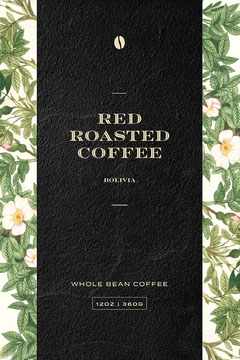 Black and Green, Branch Pattern Coffee Packaging, Label Red