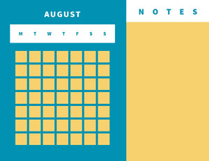 Blue White and Yellow Empty Calendar Card 달력