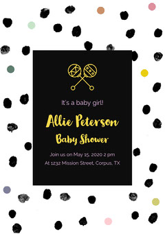 Black and White Spotted Baby Shower Invitation Baby Shower (Girl)