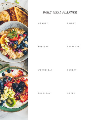White With Fresh Dishes Empty Meal Planner Menu de la semaine