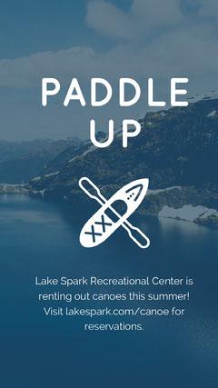 Blue and White Paddle Up Advertisement Lake